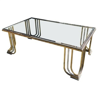 1970s Mid-Century Modern Steel Chromed and Brass Coffee Table by Banci Firenze