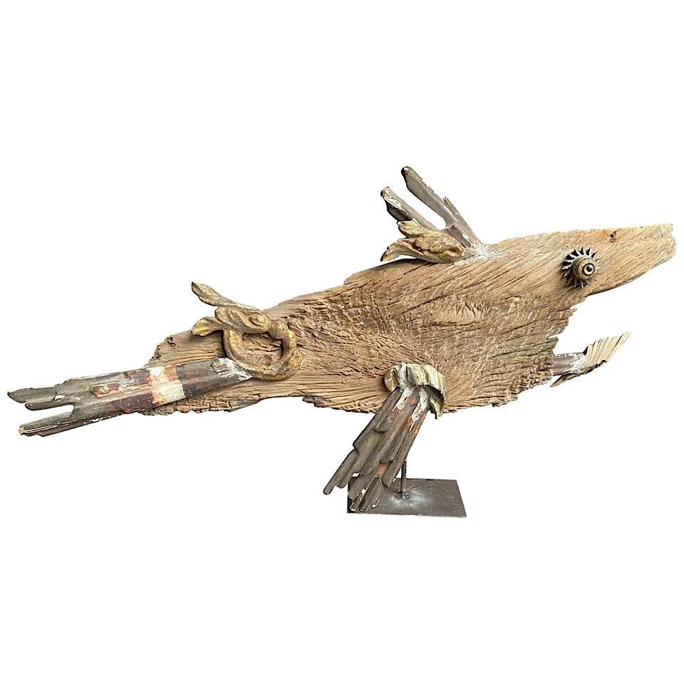 Wood and Antique Fragments Unique Sculpture of a Fish