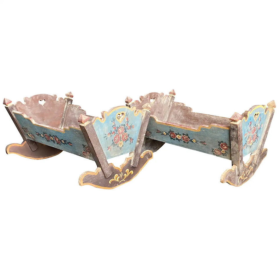 Pair of Art Nouveau Hand-Painted Wood Sicilian Toy Cots