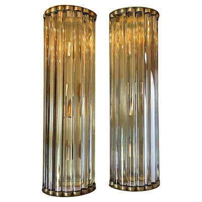 1970s Set of Two Huge Mid-Century Modern Brass and Glass Italian Wall Sconces
