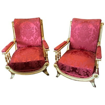 Pair of Louis Philippe Lacquered and Gilded Wood Sicilian Armchairs