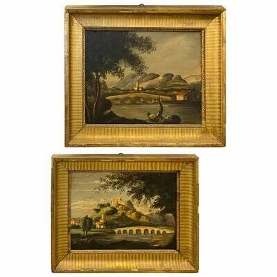 Pair of 19th Century English Giltwood Framed Oil on Canvas Landscapes