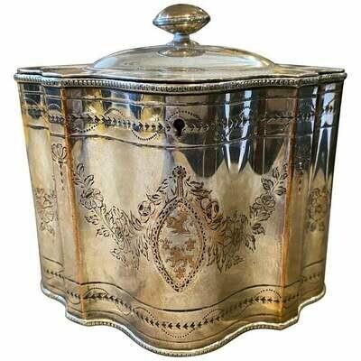 1830s Georgian Engraved Sheffield Plate English Tea Caddy