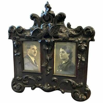 Art Nouveau Hand-Carved Wood Sicilian Picture Frame, c. 1900