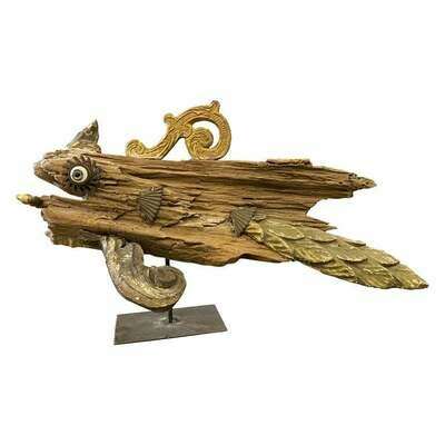 Old Wood and Antique Fragments Sculpture of a Fish on an Iron Pedestal