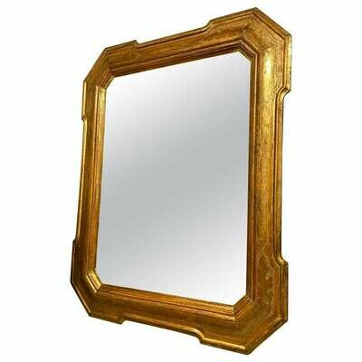 Antique Gilded Wood Exagonal Sicilian Wall Mirror