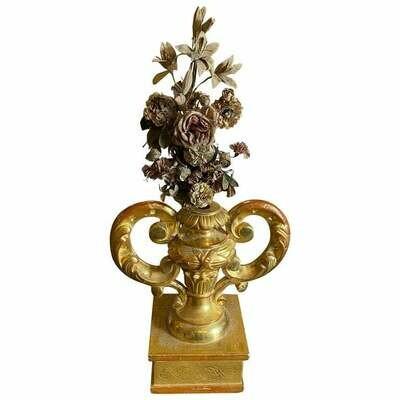 Antique Gilded Wood Sicilian Palm Holder with Flower Arrangement