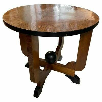 1930s Art Deco Wood Italian Round Side Table