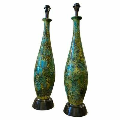 1970s Set of two Lava Blue Green and Black Ceramic Huge Table Lamps
