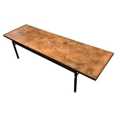 1970s Modernist Engraved Copper and Iron Rectangular Italian Side Table