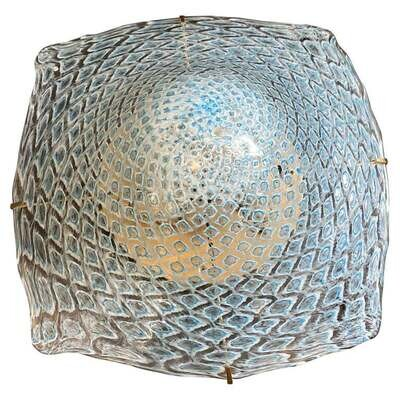 1980s Mid-Century Modern Murano Glass and Brass Ceiling Light by La Murrina