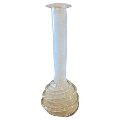 1960s Mid-Century Modern White Murano Glass Single Flower Vase