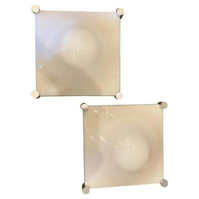 1970s Space Age Set of Two Elio Martinelli Acrylic and Steel Bolla Wall Sconces