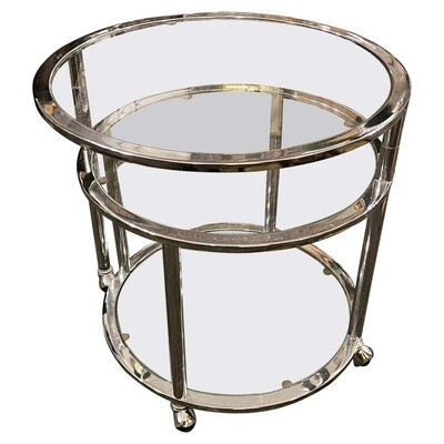 1970s Space Age Steel and Glass Round Italian Openable Trolley Cart