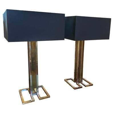 1970s Set of Two Chrome and Brass Square Table Lamp by Banci Firenze