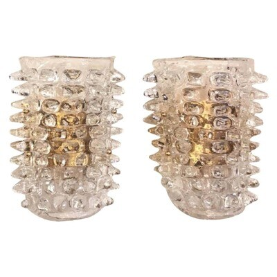 Set of Two Huge Rostrato Murano Glass Wall Sconces in the Manner of Barovier
