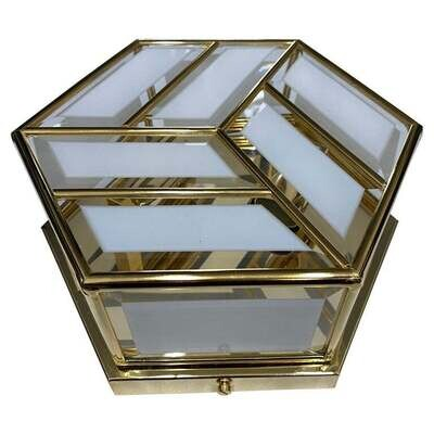 1970s Mid-Century Modern Brass and Glass Hexagonal Italian Ceiling Light