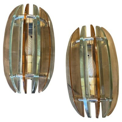 1970s Set of two Space Age Heavy Glass Italian Wall Sconces by Veca