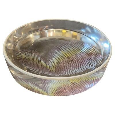 1980s Modernist Transparent Murano Glass Round Ashtray