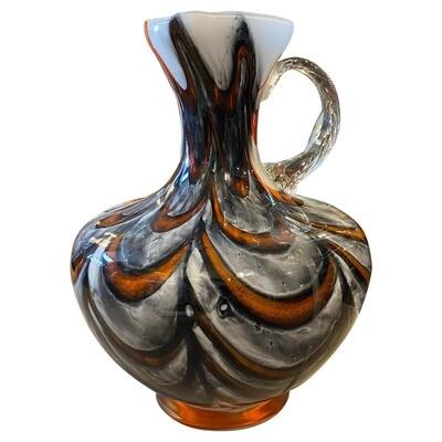 1970s Carlo Moretti Mid-Century Modern Re, orange and Gray Opaline Glass Jug
