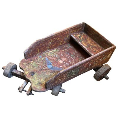 19th Century Hand-Painted Wood Sicilian Boys Game Cart