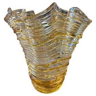 1980s Sergio Costantini Modernist Yellow Murano Glass Vase