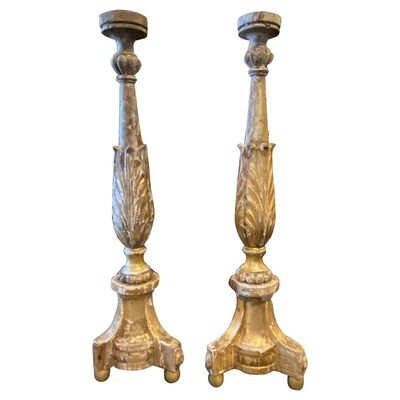 1840s Antique Hand-Carved Gilded Wood Empire Sicilian Torcheres