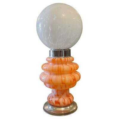 1970s Space Age Orange and White Glass Italian Table Lamp by Mazzega