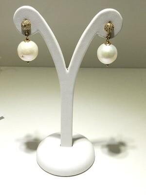 Orecchìni in argento con bagno in oro perle e zirconi