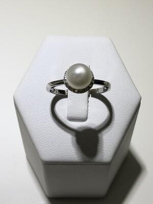 Anelli in argento con bagno in oro rosè giallo e bianco con perla e zirconia naturale