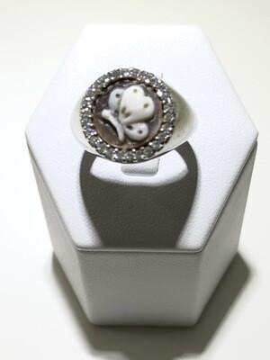Anelli realizzati in argento 925, con bagno in oro bianco  Cammei e zirconia naturale