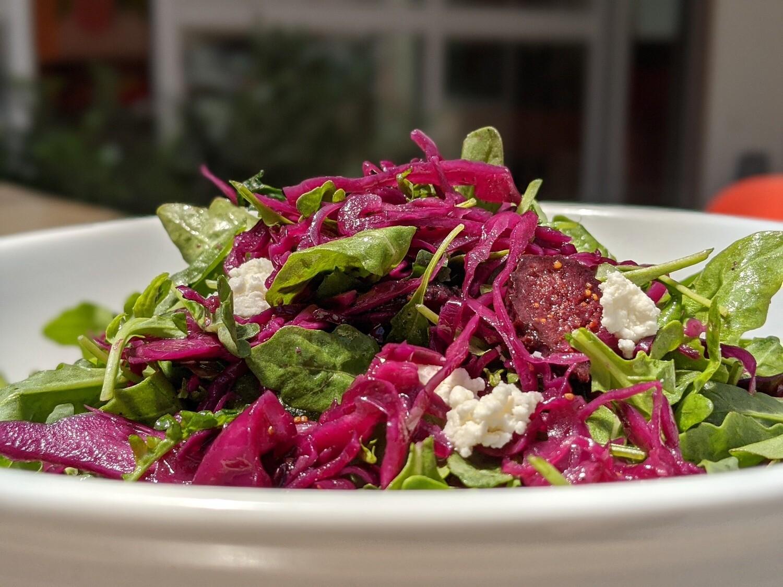 Red Cabbage & Dried Fig Salad with Arugula & Feta