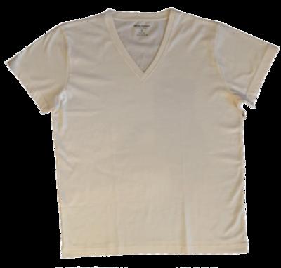 Camiseta White Cotton Cuello V - Natural