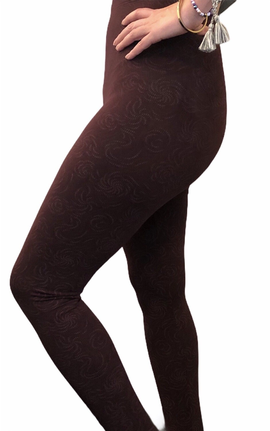 Leggings Adulto - Estampado Remolino Burgundy