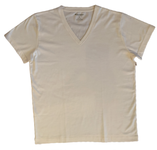 Camiseta White Cotton Cuello V - Natural