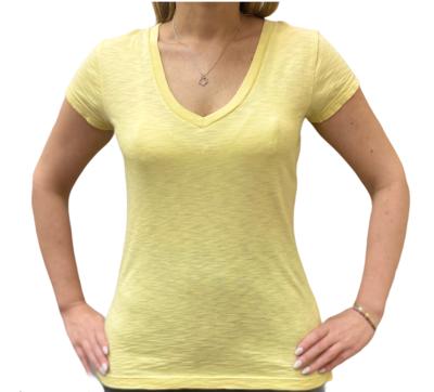 Slub V Neck T-Shirt Butterscotch