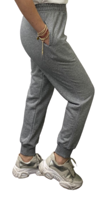 Jogger de Franela de 100% Algodón Orgánico-Heather Grey