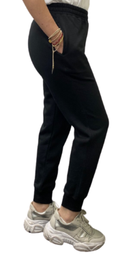 Jogger de Franela de 100% Algodón Orgánico-Jet Black