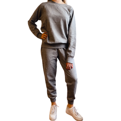 Set Jogger & Sweatshirt Franela Perchada-Heather Grey