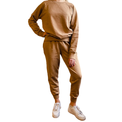 Set Jogger & Sweatshirt Franela Perchada-Toffee