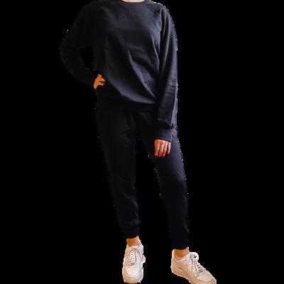 Set Jogger & Sweatshirt Franela Perchada-Jet Black