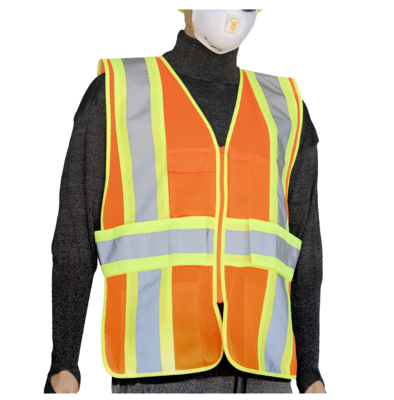 Glow Shield Class-2 Safety Vest with Expandable Side Panels (Orange)