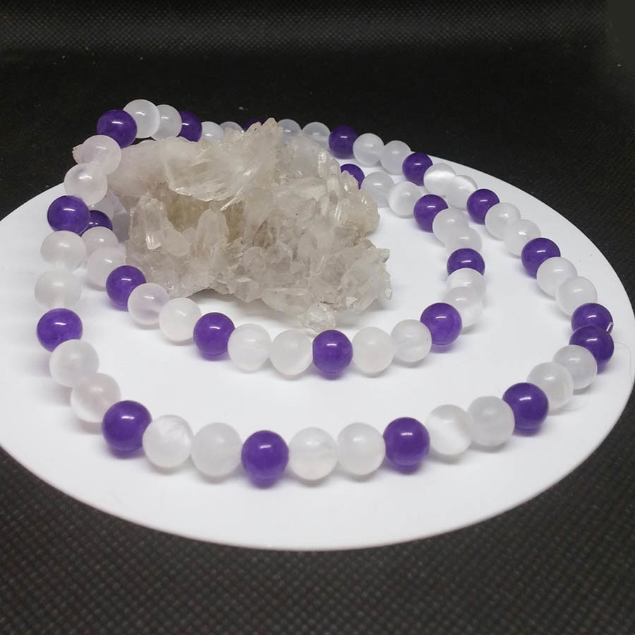 Selenite-Amethyst Necklace