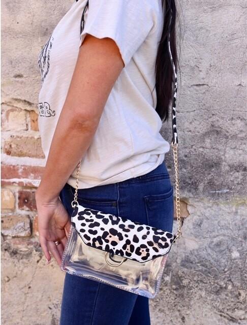 Caroline Hill Ivory Leopard Clear Game Day Bag