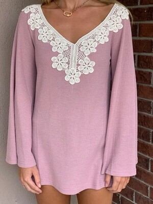 ATW Mauve Lace Bell Sleeve Top