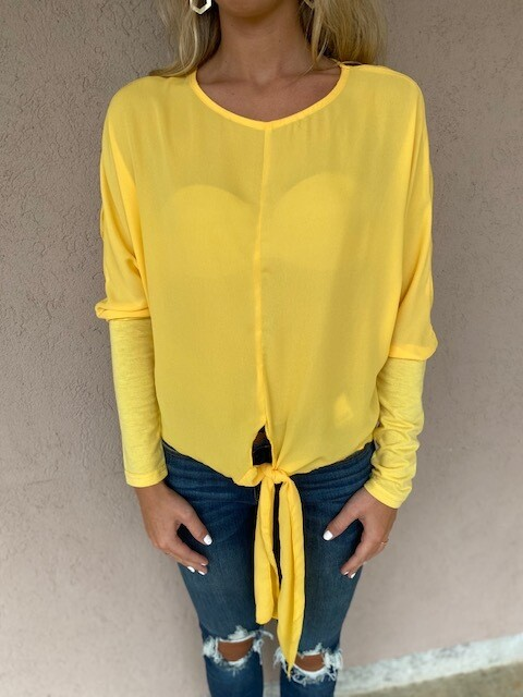 ATW Yellow Knit Sleeve Top