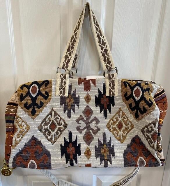 Ruggine Hand Weaved Boho Duffel Bag Brown Multi