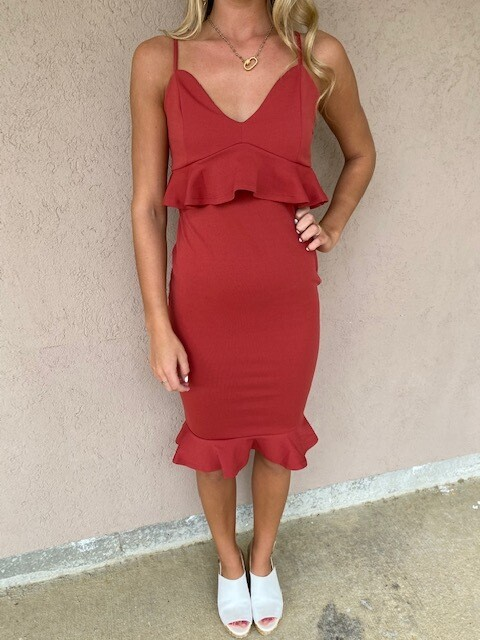 Hyfve Rust Fitted Dress