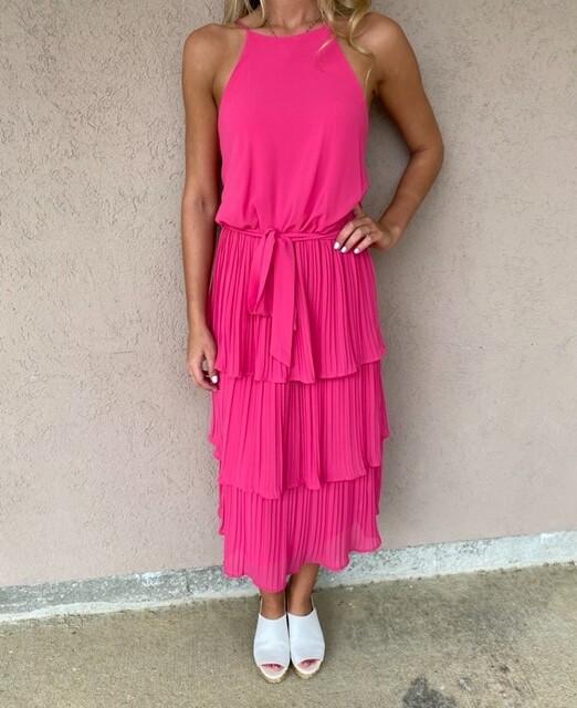 Trend Shop Cherry Pink Tiered Dress