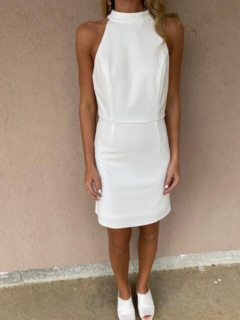 She & Sky White Halter Dress